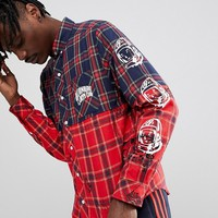 Billionaire Boys Club Check Shirt With Headline Print In Red at asos.com