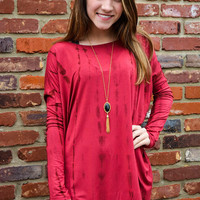 PIKO: Everyday Long Sleeve Top - Wine TieDye