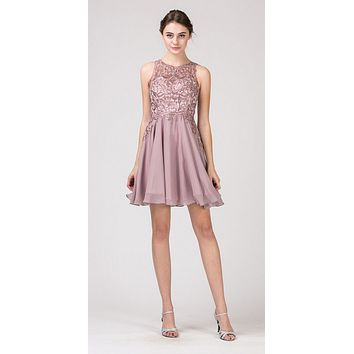 CLEARANCE - Lace Appliqued A-Line Homecoming Short Dress Mocha (Size Medium)