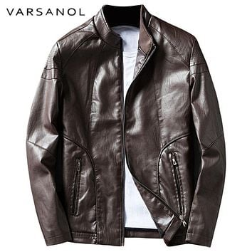 Men's Leather Jacket Casual Solid Coat For Men Long Sleeve Winter Thick Warm Clothing Pocket Outerwear