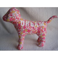 "Victoria's Secret Plush Floral Print DREAM Dog (6 1/4"")"