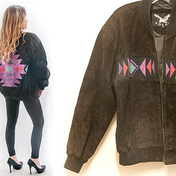80s Aztec Black Suede Bomber Jacket | Mens S M or Womens M L | Southwestern 1990s Leather Biker Motorcycle Jacket | Desert Western Boho Chic