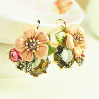 Fashion Women Lady Earring Flower Jewelry Gift With Thanksgiving&Christmas Gift