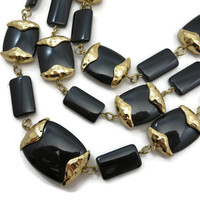 Kenneth Jay Lane Jewelry - Multi Chain KJL Necklace, Gold Black Beads, Designer Jewelry, Costume Jewelry