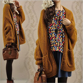 Cardigan Knit Coarse Yarn Batwing Loose Sweater