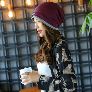 Hot double color design unisex beanie hat turtleneck cap scarf winter visors multi-rol