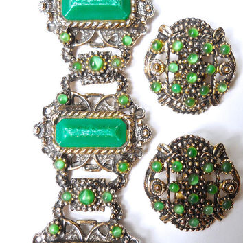 Green Victorian Revival Bracelet Earrings Set, Thermoset Selro-Style, Green Moonglow, Vintage