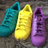 ICIK6WU Adidas' Fashion Shell-toe Flats Sneakers Sport Shoes Pure color Yellow