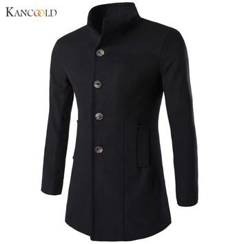 New Winter Wool Blends Brand Men Suits Dress Jackets Men Casual Long Thicken Wool Coat Warm Peacoat Long Overcoat  Jan5