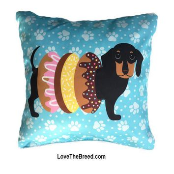 Dachshund with Donuts Pillow