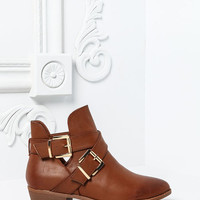 CHESTNUT BUCKLED WRAP ANKLE BOOTS