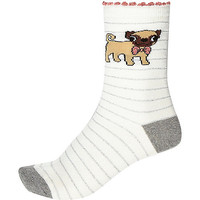 River Island Womens White stripe pug ankle socks