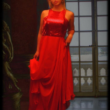 Vintage 1960s red silky sequin evening gown in sheer chiffon / cutaway shoulder / full skirts / very long 60s party dress