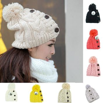 New 2017 Winter Cap Women Warm Woolen Knitted Fashion Hat  For Gilrs Jonadab Button Twisted Beanie Cap Woman Fur Cap Accessories