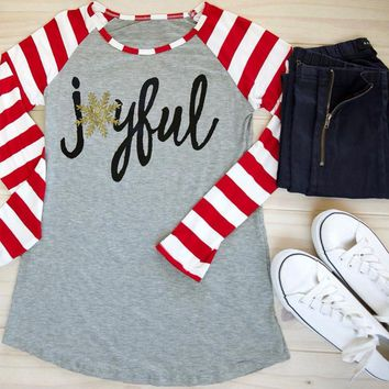 2018 Christmas Women T Shirt Snowflake Joyful Letter Print Striped Long Sleeve Baseball Tees Casual O-Neck Gray Splicing Tops