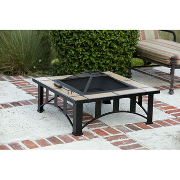 BELLACOR 60243 23-Inch Square Tuscan Tile Top Mission Style Fire Pit with 24-Inch Steel Fire Box