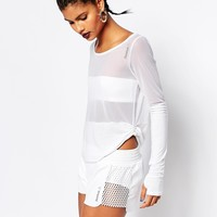 Reebok Long Sleeve T-Shirt In Sheer Mesh at asos.com