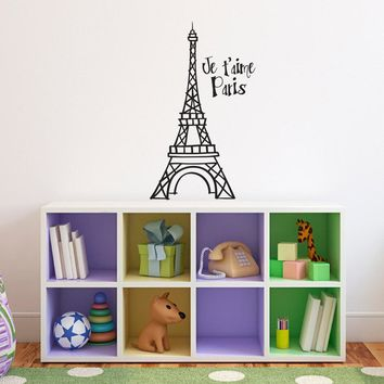 Eiffel Tower Decal - Je t'aime Paris Quote - Hand drawn style Wall Art - Medium