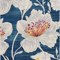 2968 Blue Flower Floral Contemporary Area Rugs