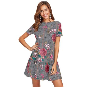 Flower Print Plaid Smock Dress Black and White Short Sleeve Drop Waist A Line Dress Elegant Floral Dress
