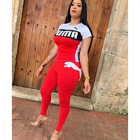 PUMA Newest Popular Women Casual Print Short Sleeve Top Pants Trousers Sport Set Two-Piece Red