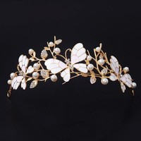 Dragonfly Butterfly Hairbands Tiaras Handmade Rhinestone Crowns