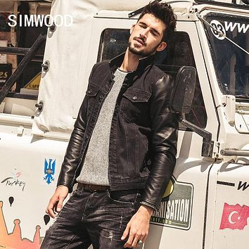 SIMWOOD Brand New Autumn Winter  black denim jacket men  Spliced leather  jeans jacket  outwear   NJ6511