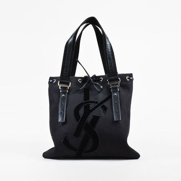 "Yves Saint Laurent Black Canvas & Leather Trim ""Mini Kahala"" Shoulder Bag"