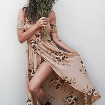 Khaki Summer print long paragraph dress