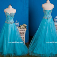 Custom made A-line sweetheart dreading long evening dress long prom dresses