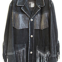 North Beach Leather Jacket Fringed Black Suede a Michael Hoban Original