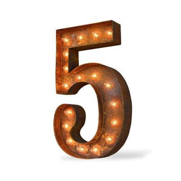 "36"" Number 5 (Five) Sign Vintage Marquee Lights"