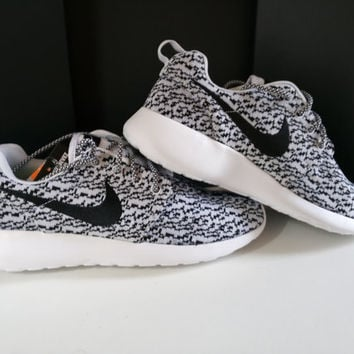 3adf1b249a09 custom nike roshe yeezy boost 350 run sneakers mens gray white shoes