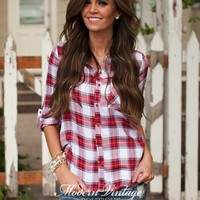 Perfectly Plaid 3/4 Sleeve Top Red/White