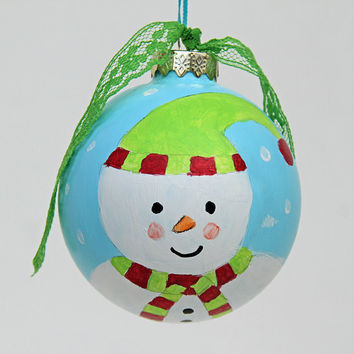 Hand Painted Snowman Ball Ornament, Christmas Tree Decoration, Handmade Holiday Decor