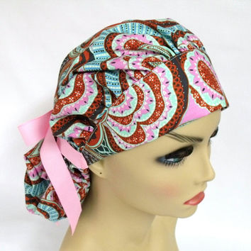 Womens Bouffant Surgical Scrub Hat or Cap Amy Butler Hapi Heart Oasis River