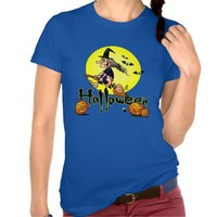 Halloween, witch on a broom, bats and pumpkins t-shirts
