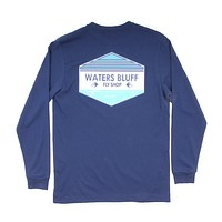 Fly Shop Long Sleeve Tee in Navy (with Teal) by Waters Bluff - FINAL SALE