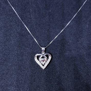 Sterling Silver Hands Holding Heart CZ Stones Pendant Free Chain