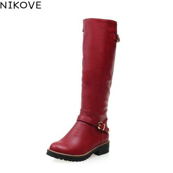 NIKOVE 2017 All-match Med-heel Black Grey Red Ladies Shoes Winter Shoes Round Toe Fashion Women Knee-high PU Leather Boots