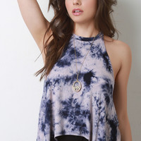 Mock Neck Sleeveless Tie Dye Top