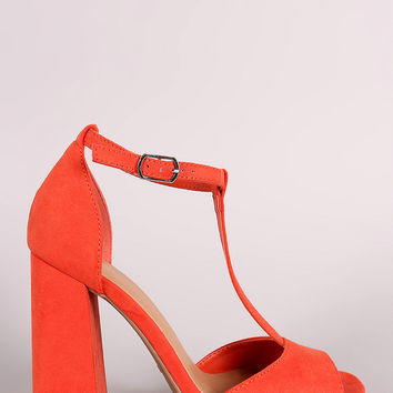 Bamboo Suede Peep Toe T-Strap Chunky Heel