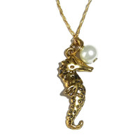 Gold Sea Horse Charm Necklace with Pearl, Beach Jewelry