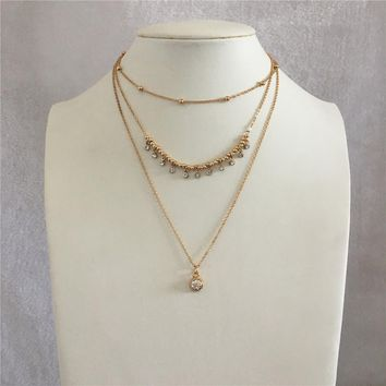 LOVELY SWEET CLEAR STONE PENDANT BALL AND SMALL BALL STRAND LAYERED NECKLACE FOR WOMAN GIRL