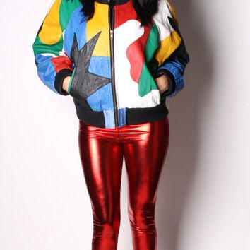 Vintage 90s Retro Fly Girl In Living Color Jennifer Lopez J. Lo Multi Color Patches Leather Jacket 00256s