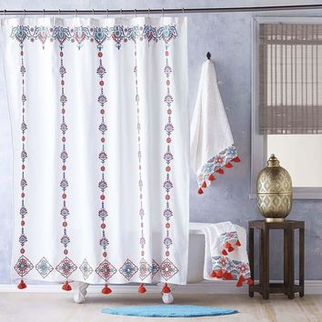Aloka Coral Shower Curtain by John Robshaw
