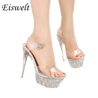 Women High Heel Sandals Sexy Crystal Transparent Women Shoes Fish head High Platform 14cm Shoes