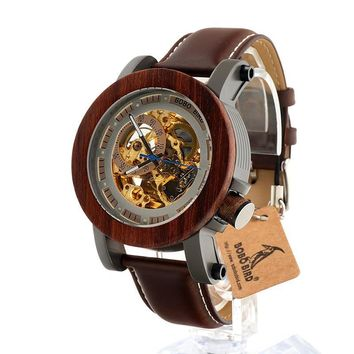 BOBO BIRD K12 Automatic Mechanical Watch Classic Style Luxury Men Analog Wristwatch Bamboo Wooden