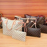 LV hot woman two piece handbag and same style wallet a set