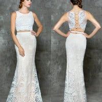 GLOW G680 White/Nude Two Piece Lace Prom Evening Dress